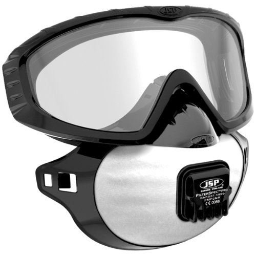 Filterspec Pro Anti Dust system, Goggles, Mask,  3 x P2 94% Efficiency Valve Filters. Eye and Respiratory Protection. (Includes pair of disposeable ear plugs)