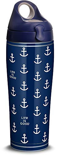 - Tervis 1314680 Life is Good - Navy Anchor Pattern Stainless Steel Insulated Tumbler with Lid, 24 oz Water Bottle, Silver