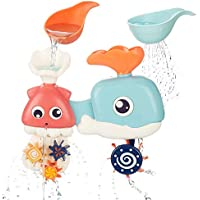 Cossy Baby Bath Octopus & Whale Water Toys w/Spinning Gears & Googly Eyes