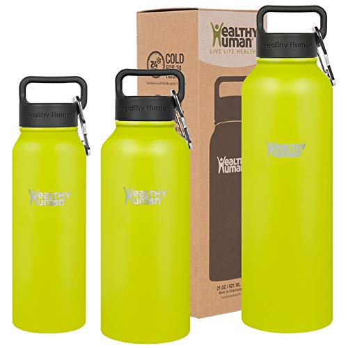 Women Mojito Green - Healthy Human Insulated Water Bottle - Double Walled Sports Vacuum Thermos Wide Mouth Flask. Ideal for Women, Men & Kids - Mojito - 32 oz