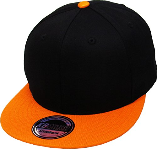 KNW-1467 BLK-ORG Cotton Snapback Solid Blank Cap Baseball Hat Flat Brim