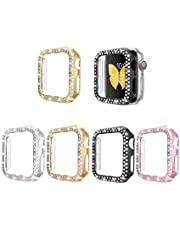 5 Pack Frame Screen Protector Case Compatible with Apple Watch Series 5/4/3/2/1 40mm, 44mm,38mm,42mm Double Row Bling Crystal Diamonds Look PC Protective Cover (For Apple Watch Series 3/2/1 42mm, 5 Color Combo(Gold, Silver,Rose Gold, Black,Pink))