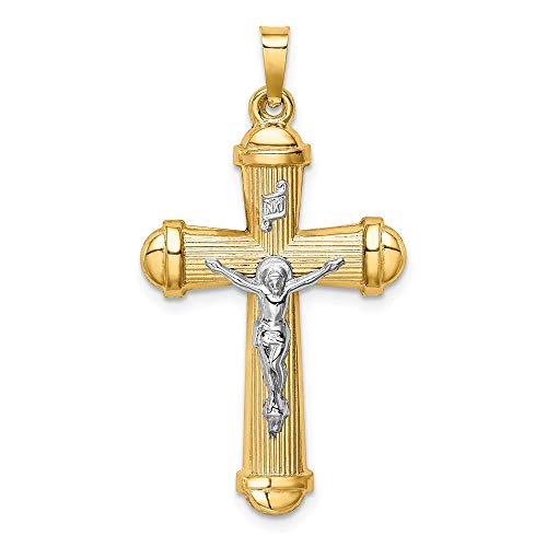 (14K Gold & Two Tone Silver Plated Hollow Polished Crucifix)