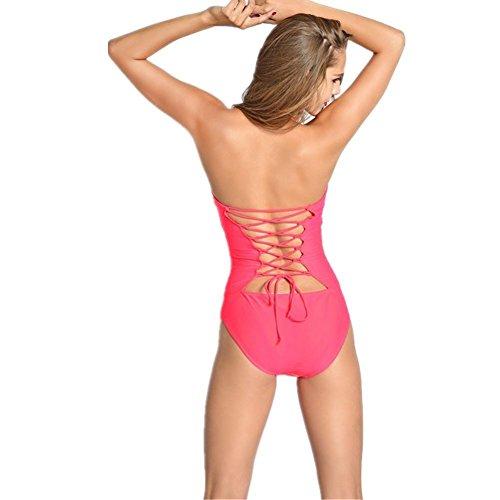 SZH YIBI Señoras bikini medio ambiente de alta elasticidad tejió triángulo siamés traje de baño wine red