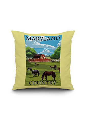 Maryland - Red Barn and Horses (18x18 Spun Polyester Pillow, Custom Border) (Pottery Barn Maryland)