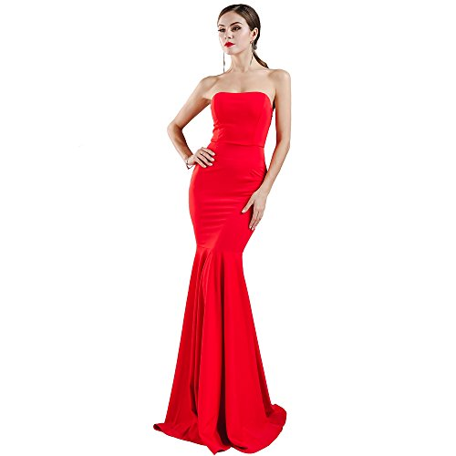 Women's Sleeveless Bra Mermaid Party Dress Medium Red -