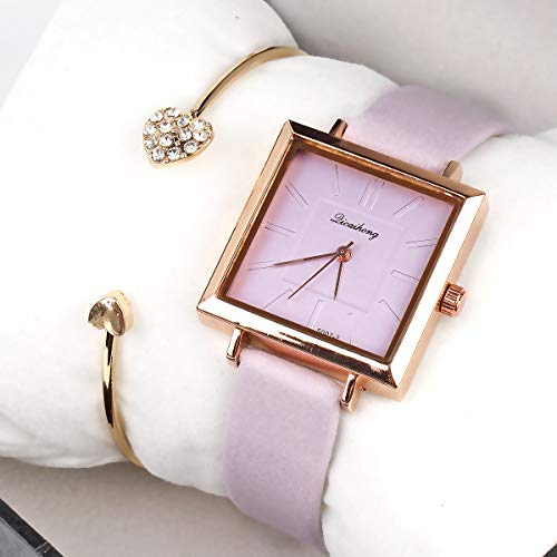 Small Ladies Square Watch with Leather Band and Bangle Set Gift for The Lady