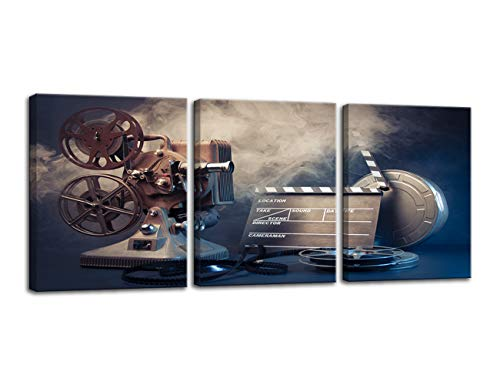 Urttiiyy Filmmaking Concept Scene Wall Art Old Reel Movie Film Projector Canvas Poster and Prints Canvas Painting Decor Picture 3 Panels for Home Camera Theater Room Living Room Framed Ready to Hang