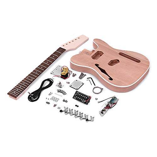 (Festnight Unfinished Electric Guitar DIY Kit for TL Tele Style Guitar, Guitar Tool Fingerboard Pickup Mahogany Neck Guitar Body with F Soundhole)