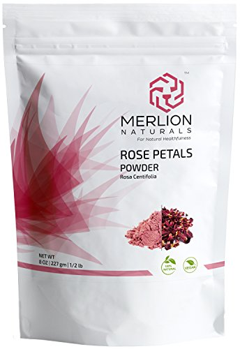 - Rose Petals Powder by MERLION NATURALS (Rosa Centifolia) - All Natural | Vegan | For Facial Mask Formulations (8 OZ)
