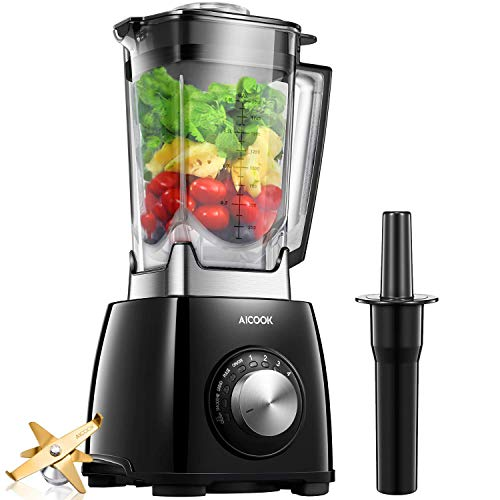 Countertop Blender Aicook Professional Blender 72oz with 1450 Watt Base, 6 Fins Titanium Plated Stainless Steel Smoothie Blender and Total Crushing Technology for Smoothies, Ice and Frozen Fruit, Blac