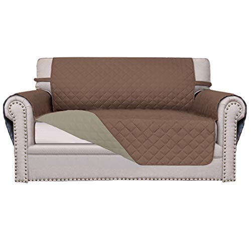 Easy-Going Sofa Slipcover Reversible Sofa Cover Furniture Protector Couch Shield Water Resistant Elastic Straps PetsKidsChildrenDogCat(Loveseat,Brown/Beige) ()
