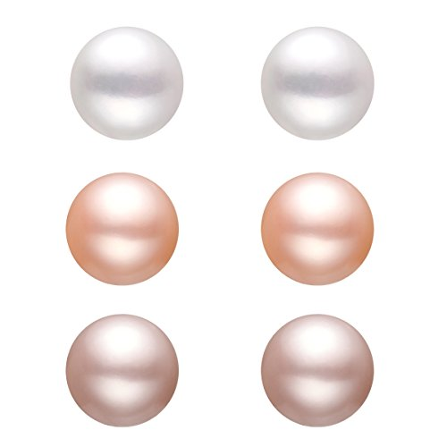 Natural Pink Pearl (YAN & LEI Silver Plated 6MM Freshwater Cultured Pearl Button Stud Earrings - Handpicked AAA Quality, 3 Pairs Set)