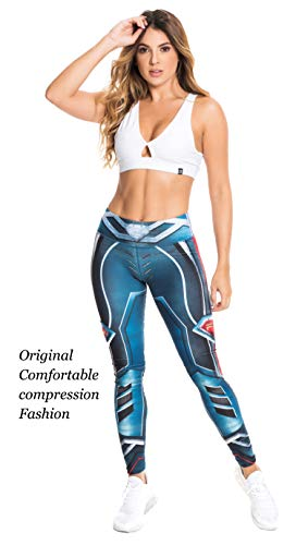 Fiber Superhero Crossfit Leggings Women Colombian Yoga Pants Compression Tights One Size - Fiber Leggings