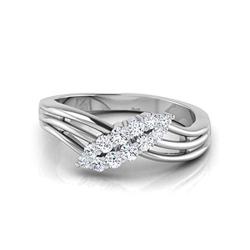18K Or Blanc, 0,31carat Diamant Taille ronde (IJ | SI) en diamant