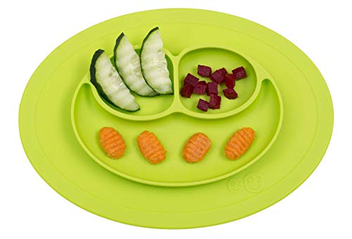 ezpz Mini Mat - One-Piece Silicone placemat + Plate (Lime), One Size