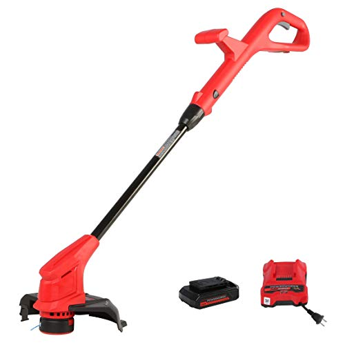 POWERWORKS XB 20V 10-Inch Cordless String Trimmer, 2Ah Battery and Charger Included STP301, 10 inch, Red/Black