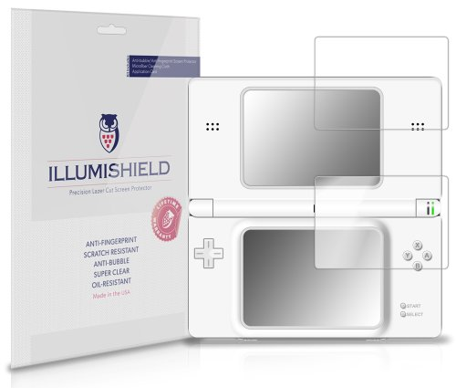 iLLumiShield Screen Protector Compatible with Nintendo DS Lite (3-Pack) Clear HD Shield Anti-Bubble and Anti-Fingerprint PET Film (Nintendo Ds Lite Screen Protector)
