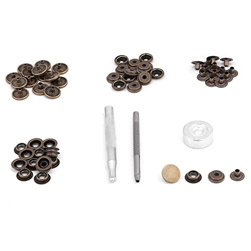 15 Set Snap Fastener Kit Button Tool Press Studs Fastener Snap on Set Clothing Snaps Kit Fixing Tool for Fabric, Leather Craft(bronze) ()