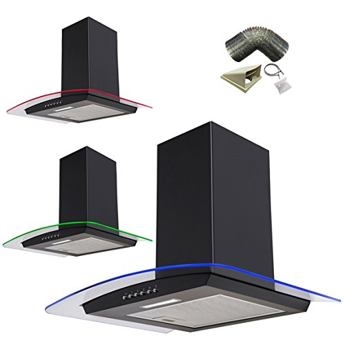SIA 60cm 3 Colour LED Edge Lit Curved Glass Black Cooker Hood + 3m Ducting Kit