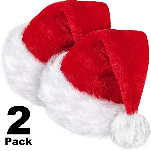 2 Pieces Santa Hat, Unisex Velvet Fabric Christmas Hat Santa Claus Cap Xmas Hat with Comfort Lining and Plush Brim Red for Adults Party New Year Christmas Day