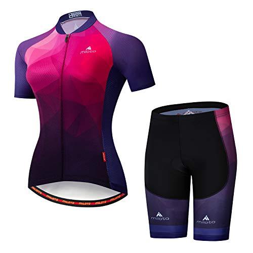MILOTO Women's Cycling Jersey Reflective Shirt Padded Shorts Set (XL, Gradient ()