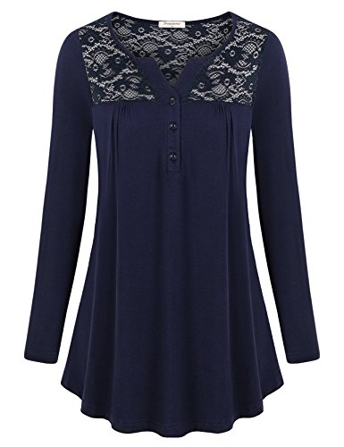 Ladies Henley Top (Nomorer Flowy Tops, Ladies Full Sleeve Henley for Skinny Denim Long Sleeve Casual Patchwork Autumn Fall Solid Shirts Blouses (Navy Blue M))