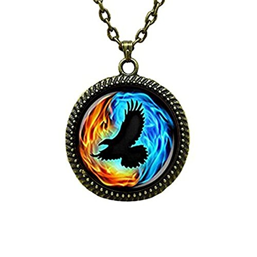 (LEO BON Glass Cabochon Pendant Necklace Colorful Twin Flames with Raven Vintage Chain Circle Bronze Bead Choker Healing Amulet)