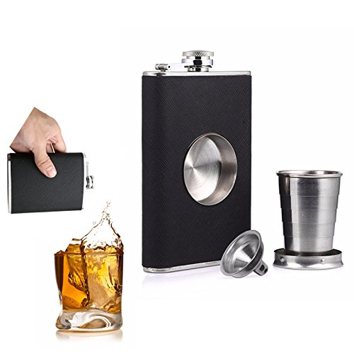 Pelvis Flaskful - 8oz Flagon Hip Flask Outdoor Wine Pot Whiskey Stainless Steel Folding Cup Proof Funnel - Informed Coxa Pelvic Girdle Joint Articulatio Coxae Arch - (Vintage Steel Arch)