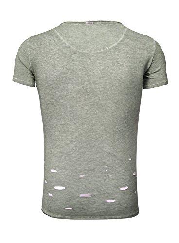 Key Largo Herren T-Shirt CLEMENS mit Knopfleiste Destroyed Look Vintage verwaschen grün XL