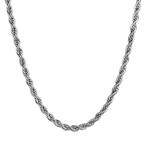 Monily 2-5mm Twist Chain Necklace Stainless Steel Necklace 16-36 Inches Men Women Jewellery
