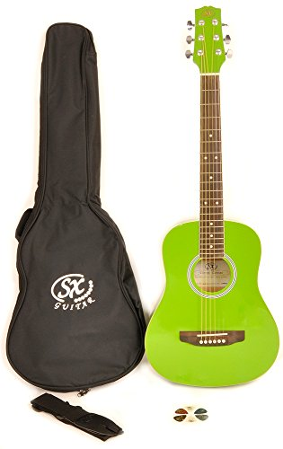 SX RSM 1 34 JGN 3/4 Size Jellybean Geen Acoustic Guitar Package, Black with Carry Bag, Strap, and Guitar Picks Included by SX