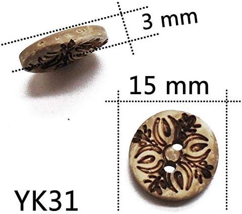 Yitang 50分の30 / 100PCS 2holeナチュラルカラーラウンドレーザーココナッツの殻のボタン13ミリメートル15ミリメートル工芸裁縫スクラップブッキングのための服手作り、工芸はDIYのプロジェクトを作ります (Color : YK31, Size : 30 pcs)