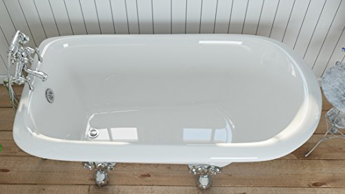 Luxury 54 inch Small Clawfoot Tub with Vintage Tub Design in White, includes Polished Chrome Ball and Claw Feet and Drain, from The Highview Collection by Pelham & White (Image #4)