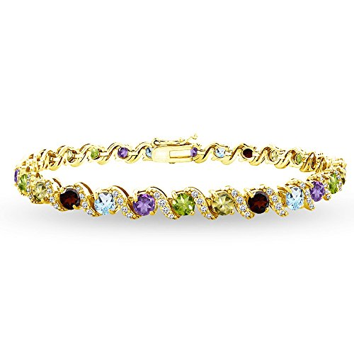 Yellow Gold Flash Sterling Silver Multi Gemstone 4mm Round-Cut S Design Tennis Bracelet with White Topaz Accents
