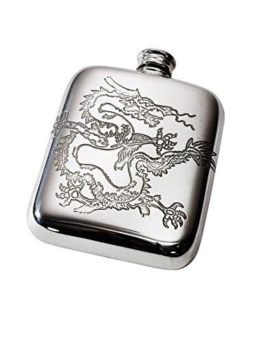 (Wentworth Pewter- Chinese Dragon Pewter Cushion Pocket Flask, Spirit Flask)