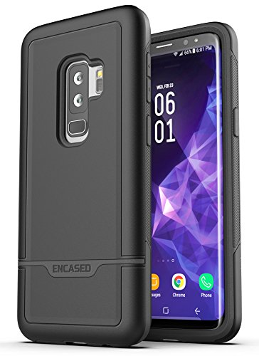 Samsung Galaxy S9 Plus Armband Set - Lightweight (Clip'N'Go) Workout Band w/Rebel Tough Case (Fully Size Adjustable XS-XXL) (Black) by Encased (Image #1)