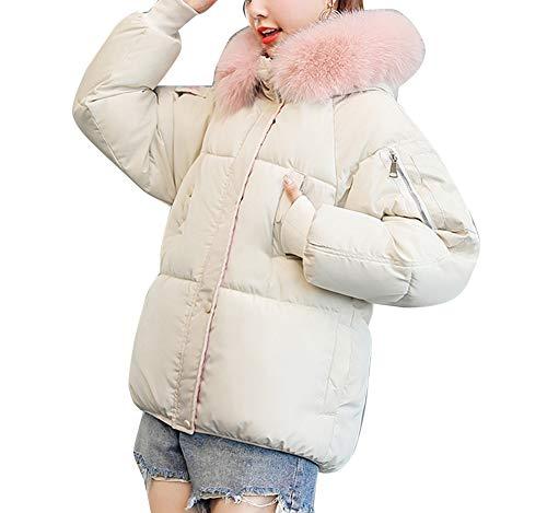 Para Corto Piel Con Abajo Capucha Caliente Fit Mujer Loose Chaquetas Plumas De Abrigo Acolchado Chaqueta Espesar Casual Beige Sintética nx676z