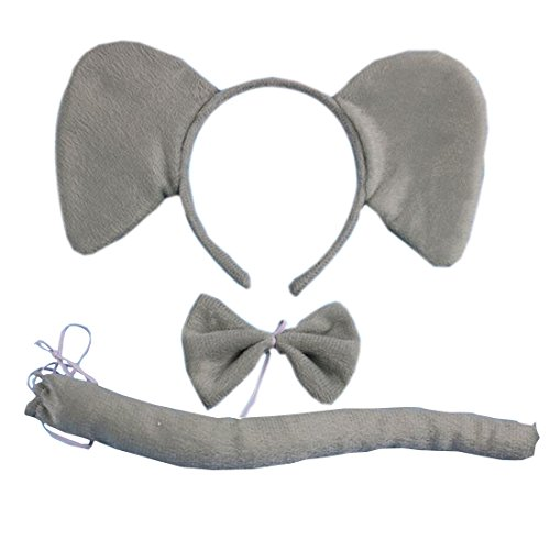 Marlegard 3PCs Funny Dalmatian Milk Leopard Costume Headband Ear with Tail Tie (Grey Elephant) -