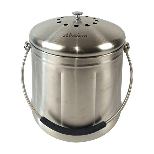 Abakoo Compost Bin 304 Stainless Steel Kitchen Composter Waste Pail Indoor Countertop Kitchen Recycling Bin Pail - Includes 2 Charcoal Filters Clean & Odor Free (1.8 Gallon) (Compost Bins Kitchen)