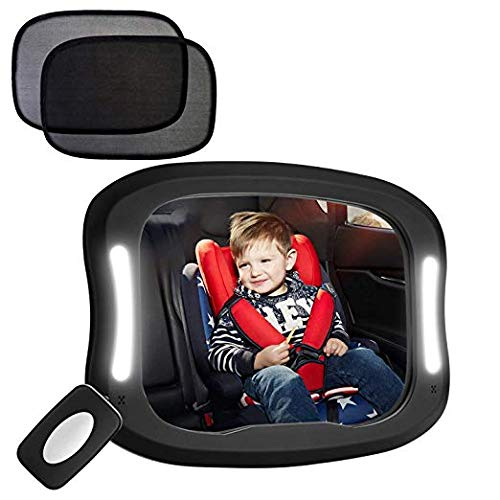 FITNATE LED Baby Car Mirror, Safety Infant in Backseat 360°Adjustable Light Up Mirror for Baby Rear with Best Newborn Secure 4 Sturdy Strips,Remote Control and 2 Car Sun Visors (Backseat Light For Car)