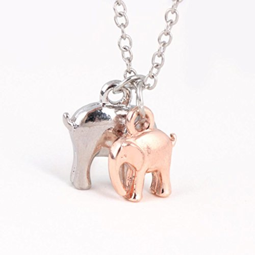 Napoo-Necklace Pendant Clearance Delicate Two Elephant Animal Pendant Necklace Fashion Collarbone Chain (Multicolor) ()