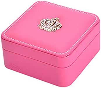 PU Leather Rose Red Square Jewelry Box with Mirror Gift
