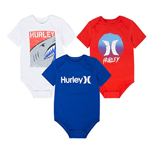 Hurley Baby Graphic Bodysuit Three Piece Set, White/Blue/Red 0/3M]()