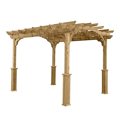 Suncast10' x 12' Wood Pergola - Open Stable Pergola Perfect for Outdoor Settings, Backyards, Gardens, BBQs, Outdoor Party ()