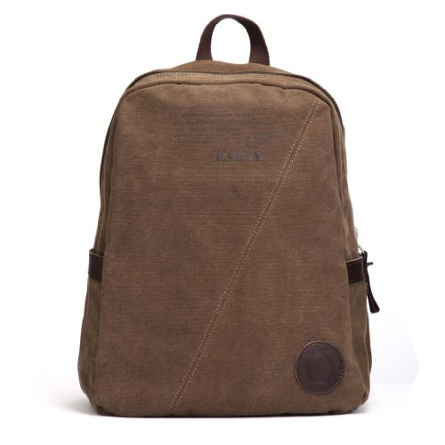 "Eshow Men's Retro Canvas Weekend Travel Laptop Backpack, Brown, 14"""