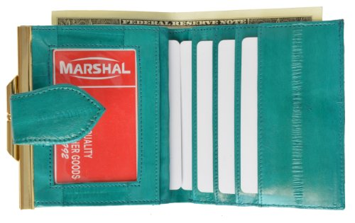 French Frame Eel skin Wallet for Women (Teal)