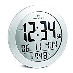 Marathon Round Digital Wall Clock with Date and Indoor Temperature. Large 8.5 Inches Diameter with Stand - Batteries Included - CL030069SS (Stainless Steel Finish)
