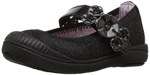 Dunk Mj Slam - Stride Rite Girls' Layla Mary Jane Flat Black 12 Wide US Little Kid