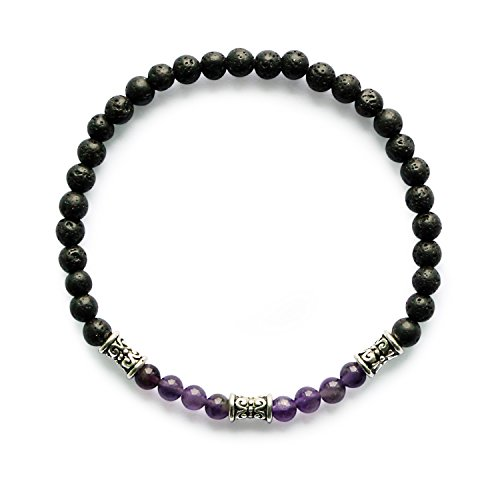 Me&Hz Amethyst Chakra Stretchy Small Beads Bracelet Lava Gemstone Healing Energy Beaded Bracelet for Women